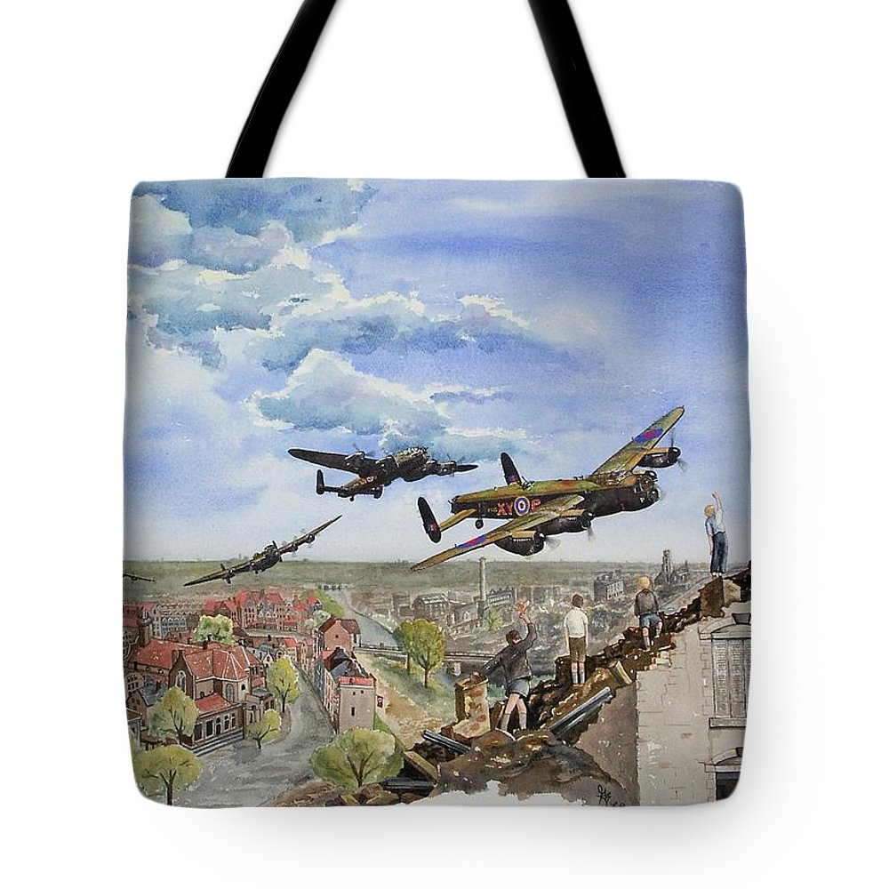 Lancaster Bomber Tote Bag featuring the painting Operation Manna I by Gale Cochran-Smith