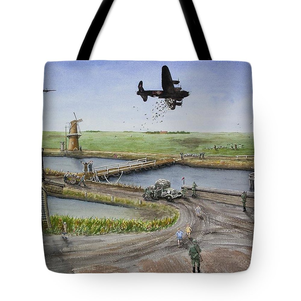 Lancaster Bomber Tote Bag featuring the painting Operation Manna IIi by Gale Cochran-Smith
