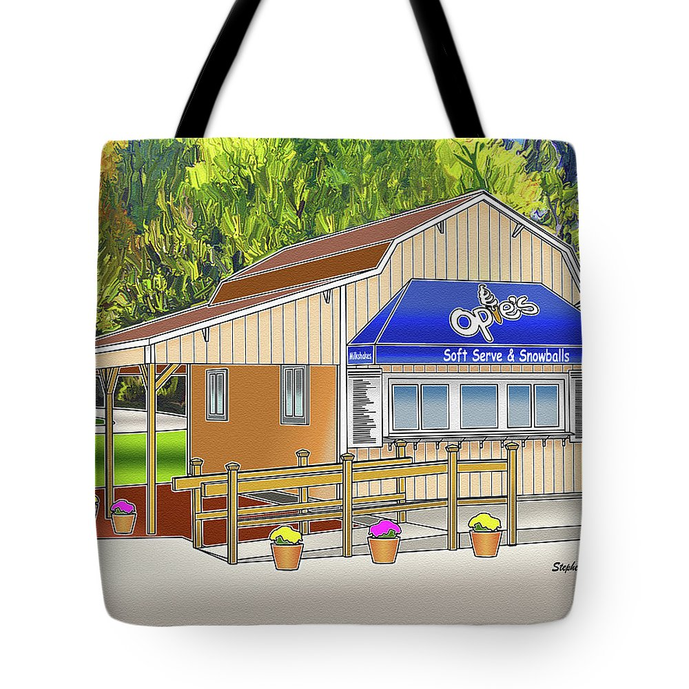 Catonsville Tote Bag featuring the digital art Opie's Snowball Stand by Stephen Younts