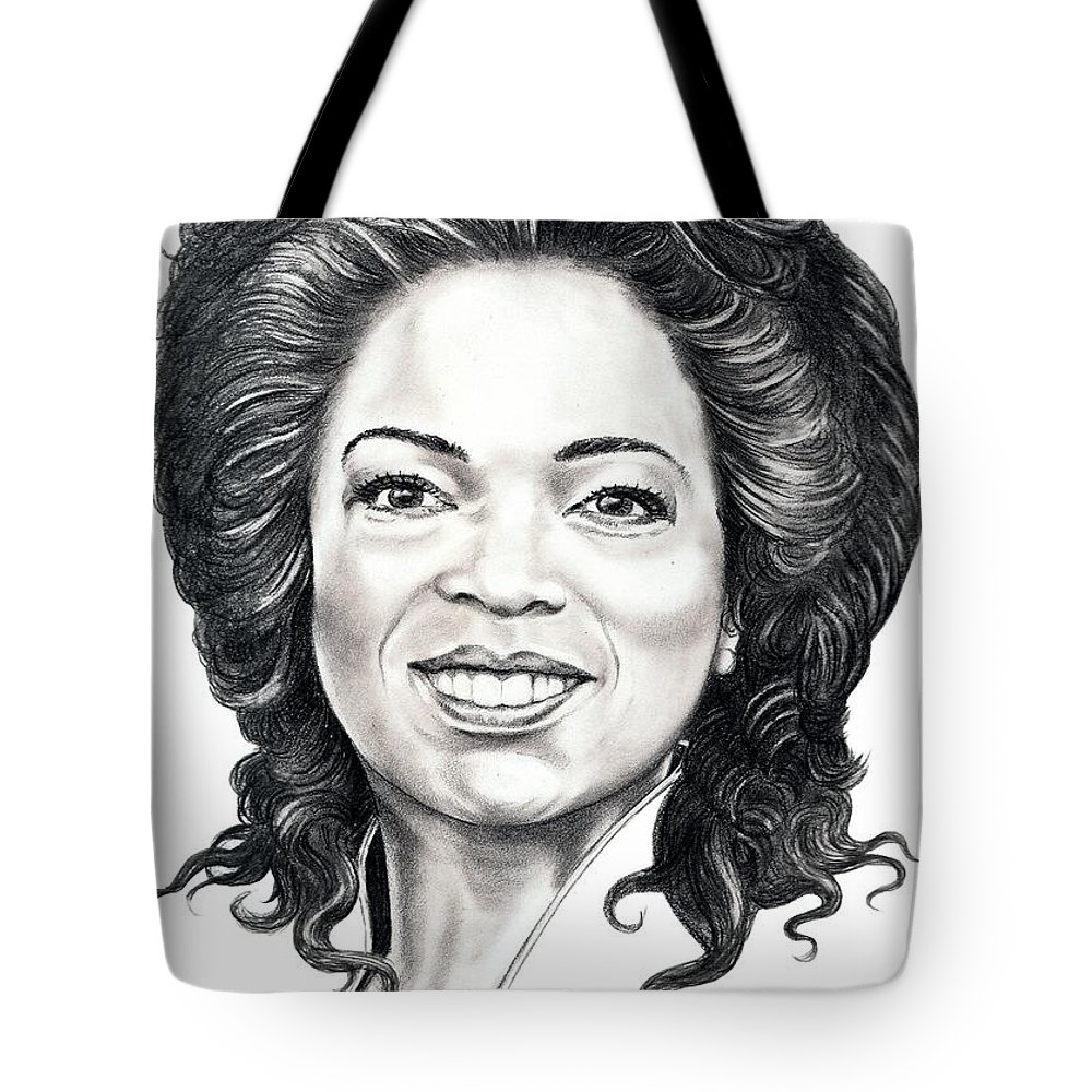 Oprah Tote Bag featuring the drawing Oprah Winfrey by Murphy Elliott
