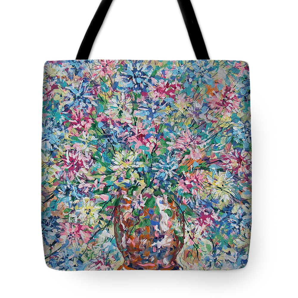 Painting Tote Bag featuring the painting Opulent Bouquet. by Leonard Holland