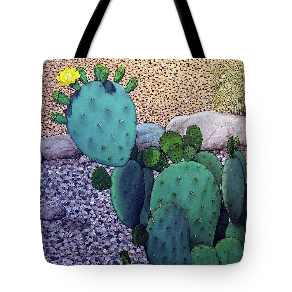 Landscape Tote Bag featuring the painting Opuntia by Snake Jagger