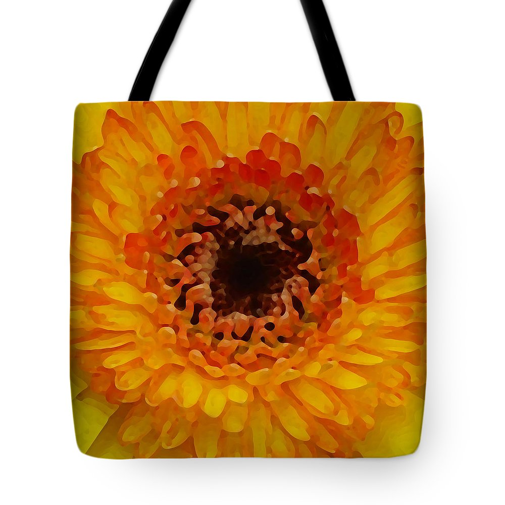 Daisy Tote Bag featuring the painting Orange And Black Gerber Center by Amy Vangsgard