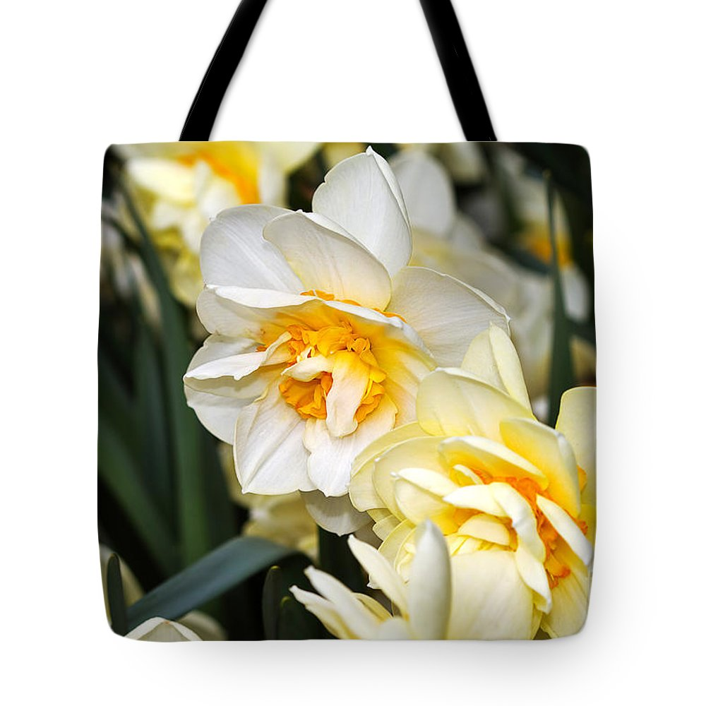 Flower Tote Bag featuring the photograph Orange And Yellow Double Daffodil by Louise Heusinkveld