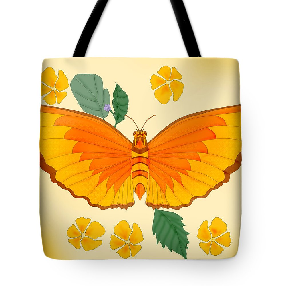 Butterfly Tote Bag featuring the painting Orange Beauty by Anne Norskog