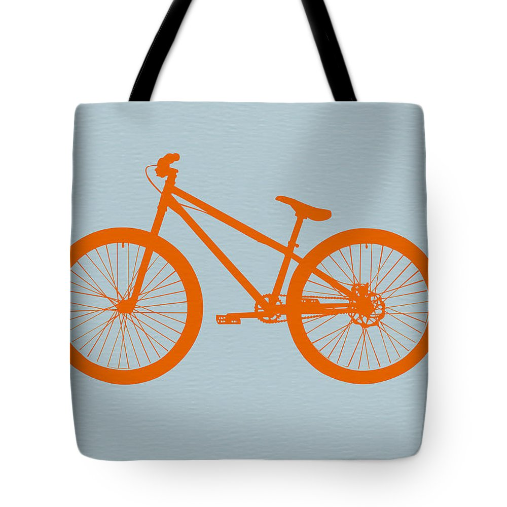 Bicycle Tote Bag featuring the digital art Orange Bicycle by Naxart Studio