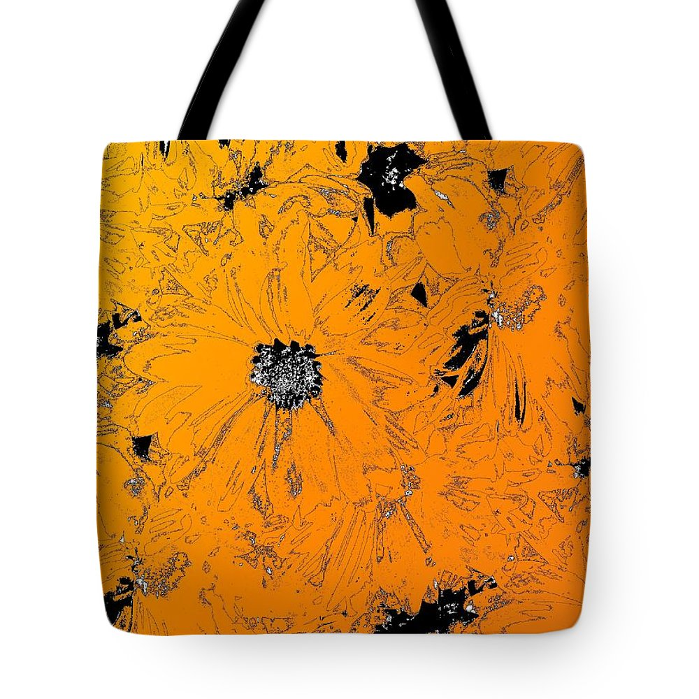 Orange Tote Bag featuring the digital art Orange Blast by Tim Allen