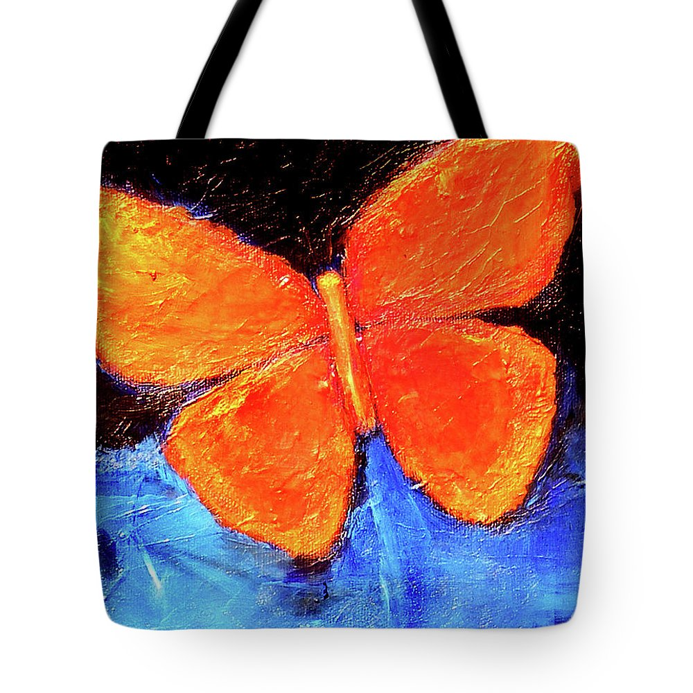 Butterfly Tote Bag featuring the painting Orange Butterfly by Noga Ami-rav