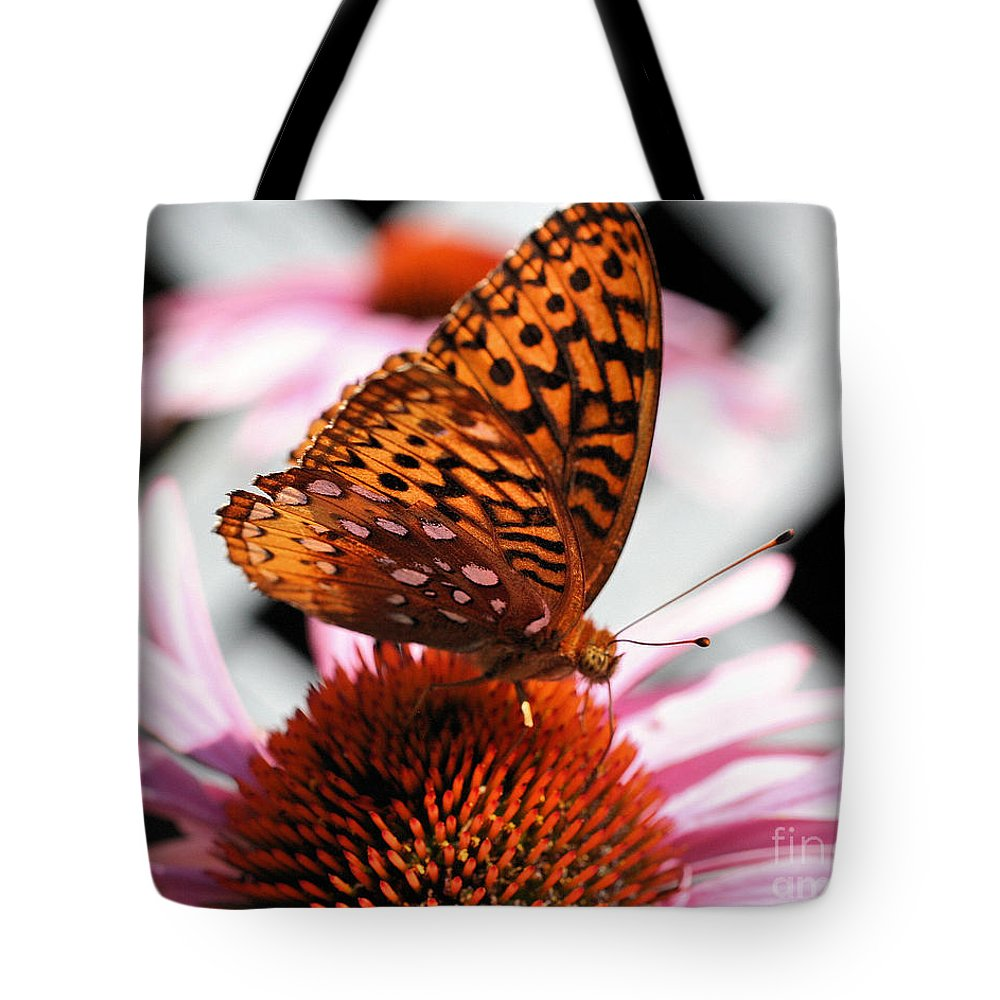 Butterfly Tote Bag featuring the photograph Orange Butterfly by Smilin Eyes Treasures