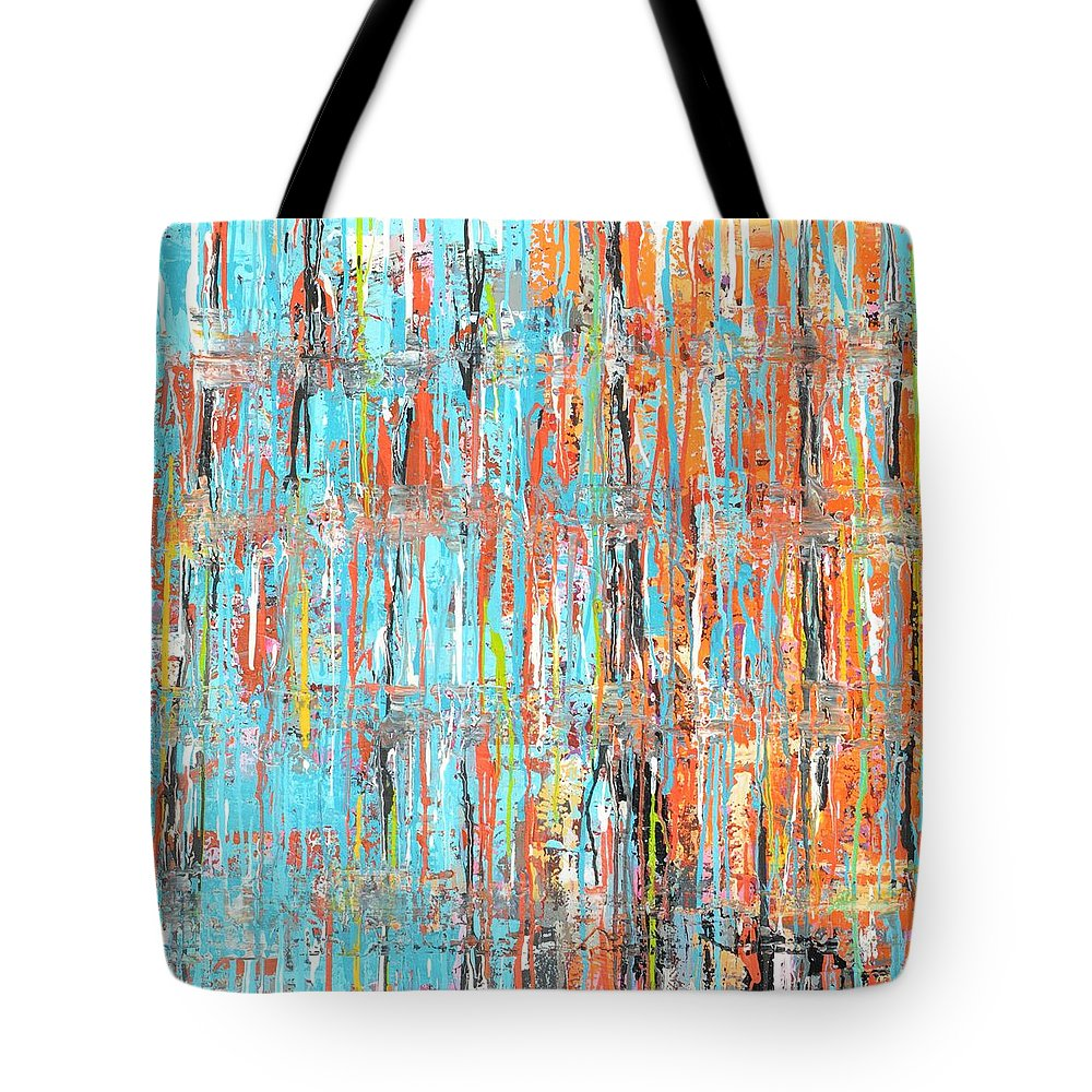 Blue Tote Bag featuring the painting Orange Crush by Elizabeth Langreiter