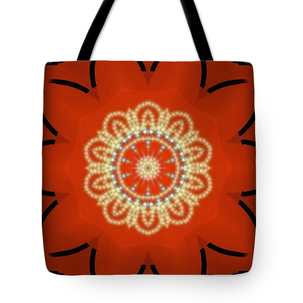 Orange Tote Bag featuring the painting Orange Desert Flower Kaleidoscope by Roxy Riou
