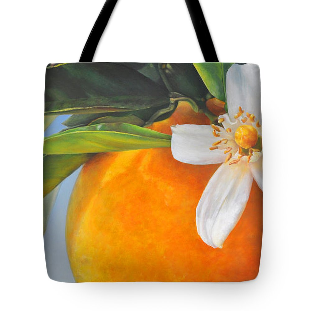Floral Painting Tote Bag featuring the painting Orange En Fleurs by Muriel Dolemieux