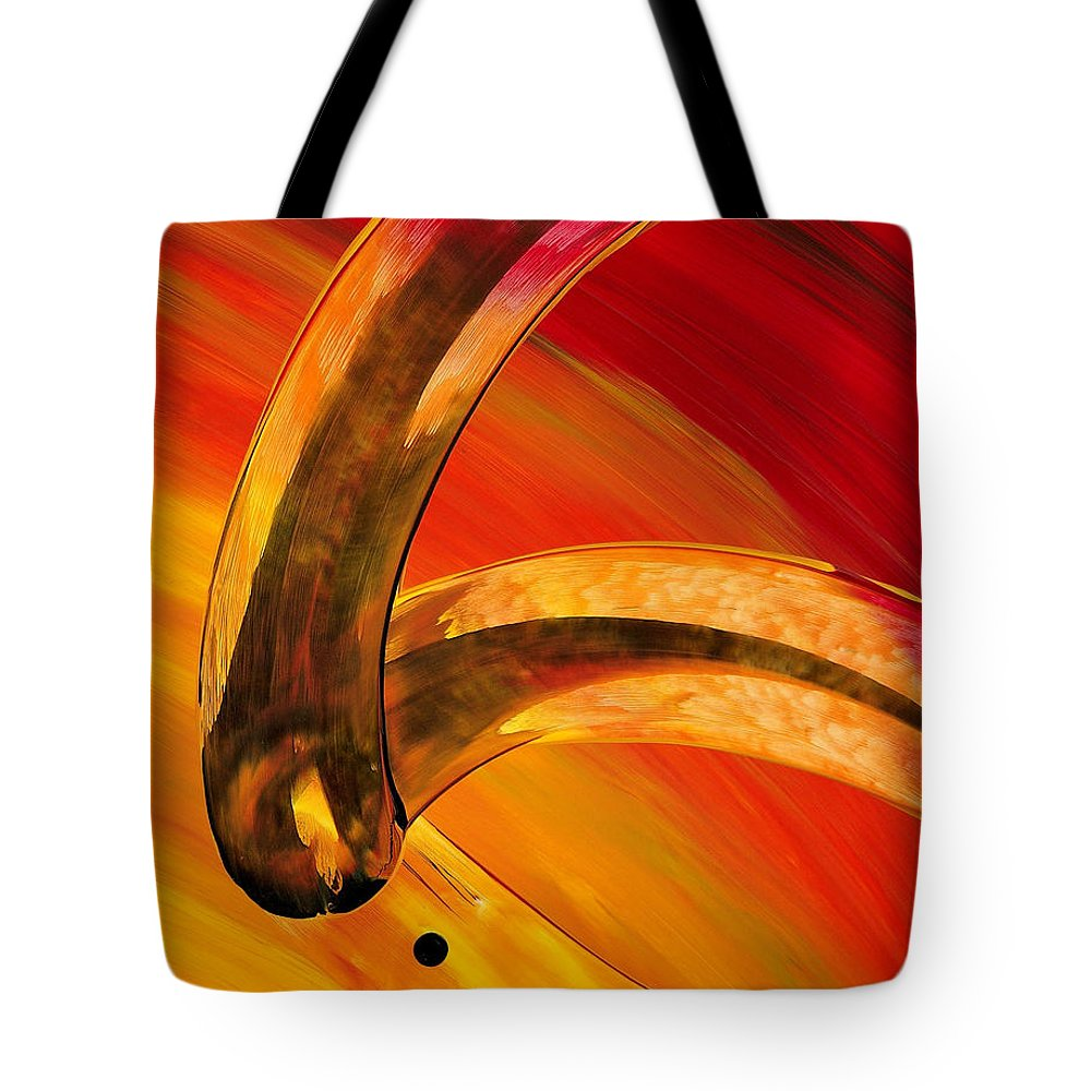 Abstract Art Tote Bag featuring the painting Orange Expressions by Sharon Cummings