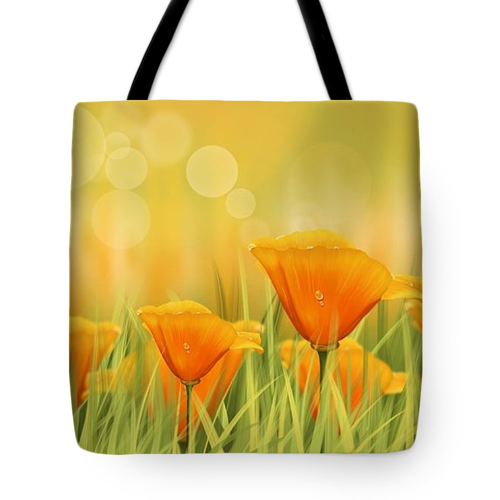 Field Tote Bag featuring the painting Orange Field by Veronica Minozzi