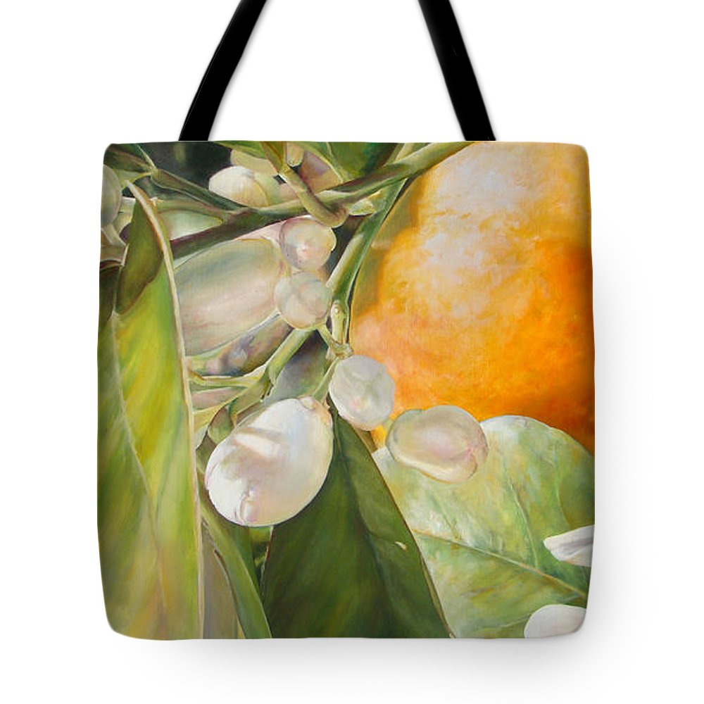 Floral Painting Tote Bag featuring the painting Orange Fleurie by Dolemieux