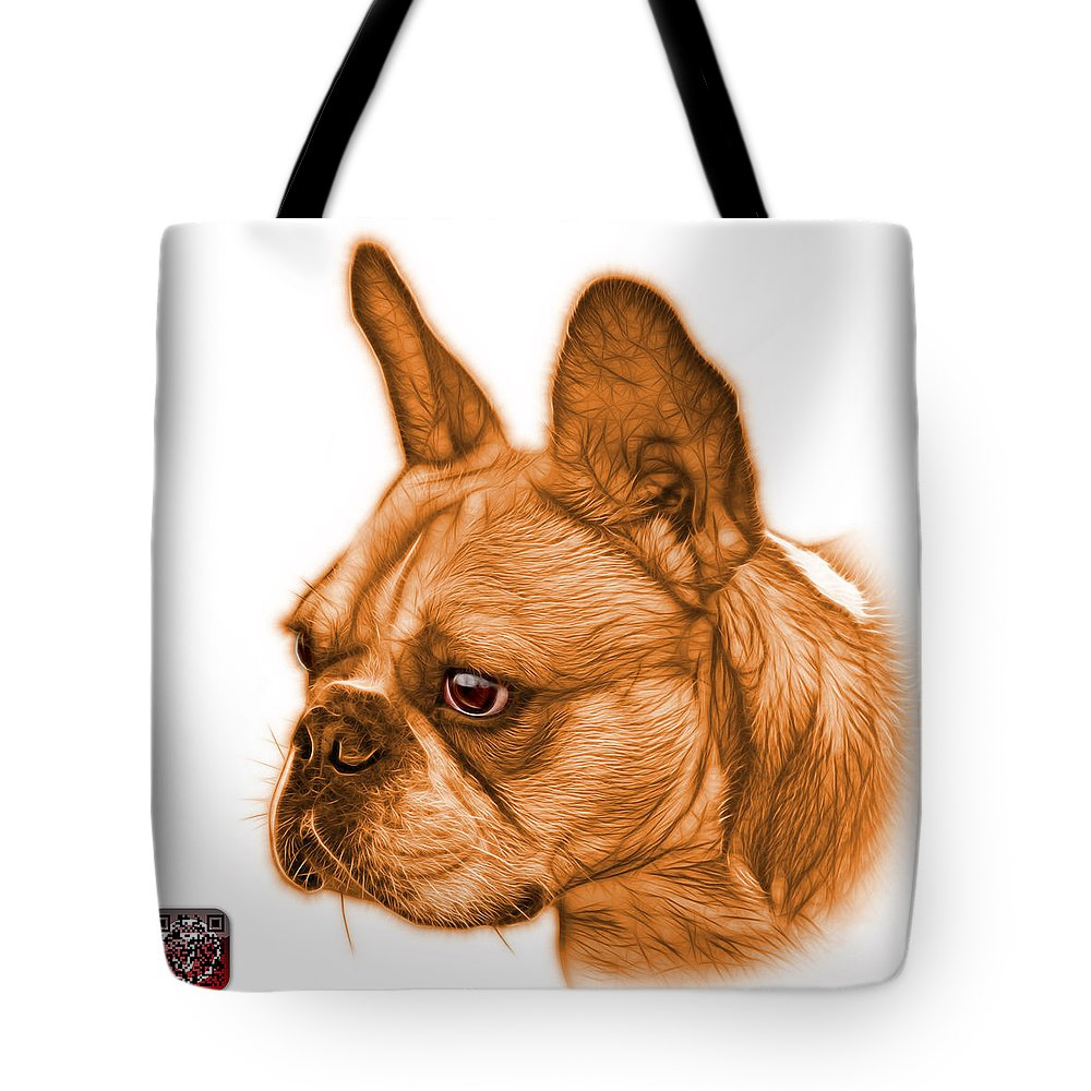 French Bulldog Tote Bag featuring the painting Orange French Bulldog Pop Art - 0755 Wb by James Ahn