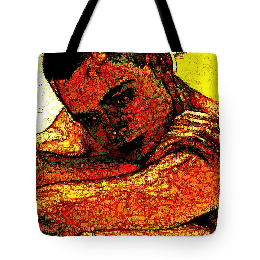 Man Tote Bag featuring the digital art Orange Man by Stephen Lucas