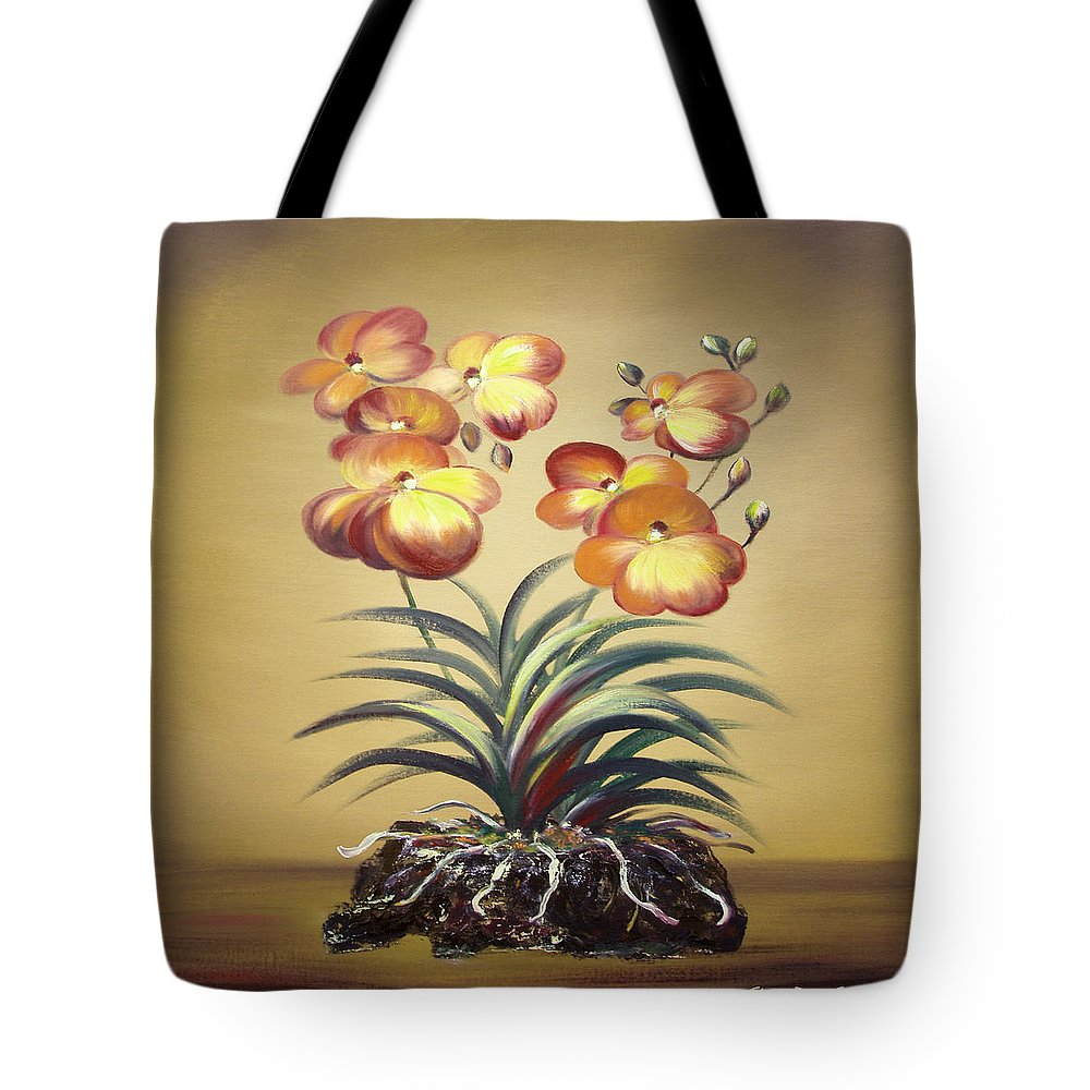 Orange Tote Bag featuring the painting Orange Orchid Flowers by Gina De Gorna