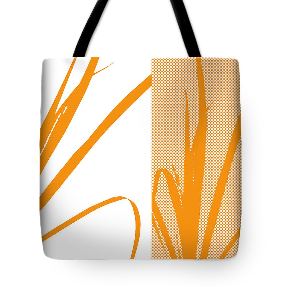 Abstract Tote Bag featuring the digital art Orange Palm by Ruth Palmer