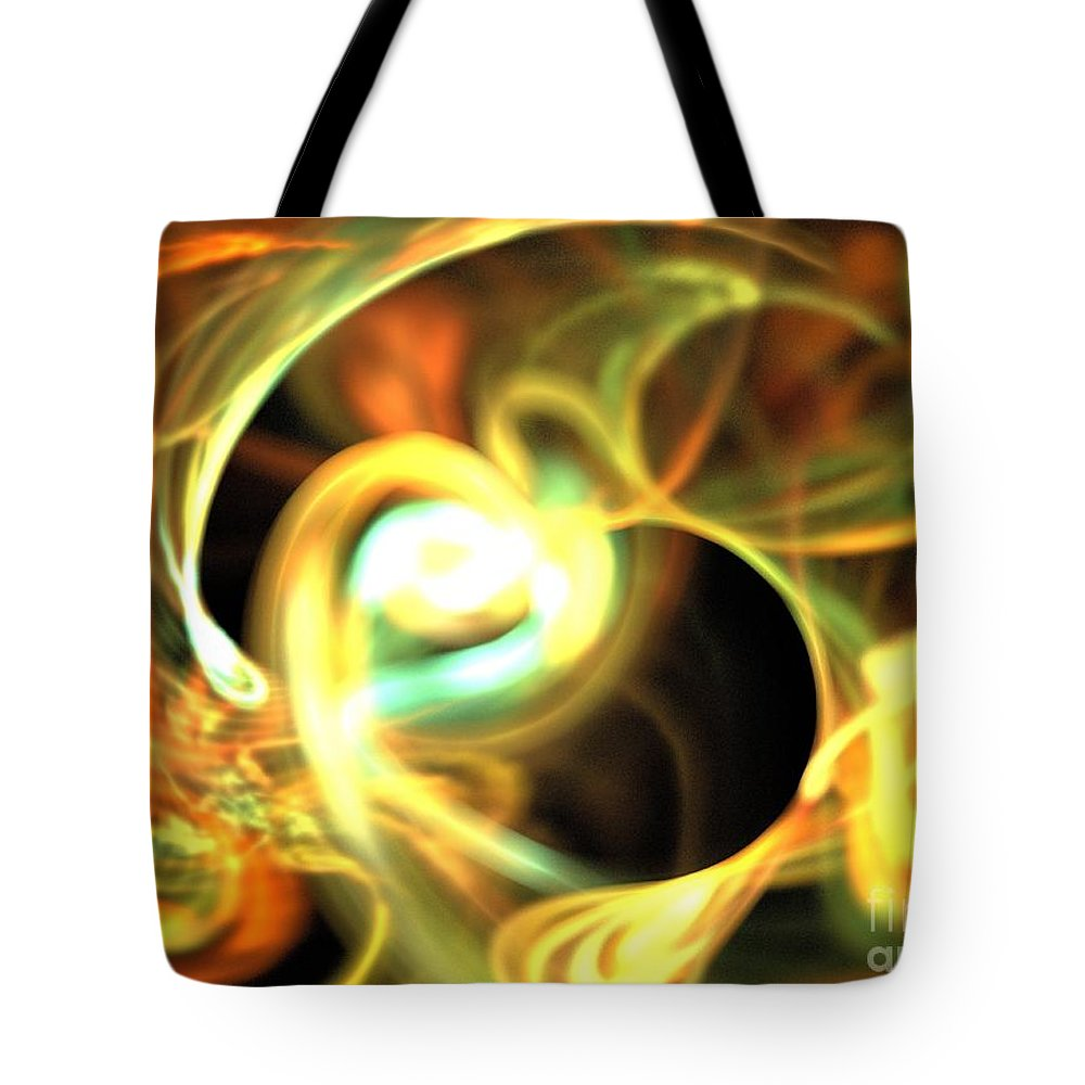 Apophysis Tote Bag featuring the digital art Orange Pearl by Kim Sy Ok
