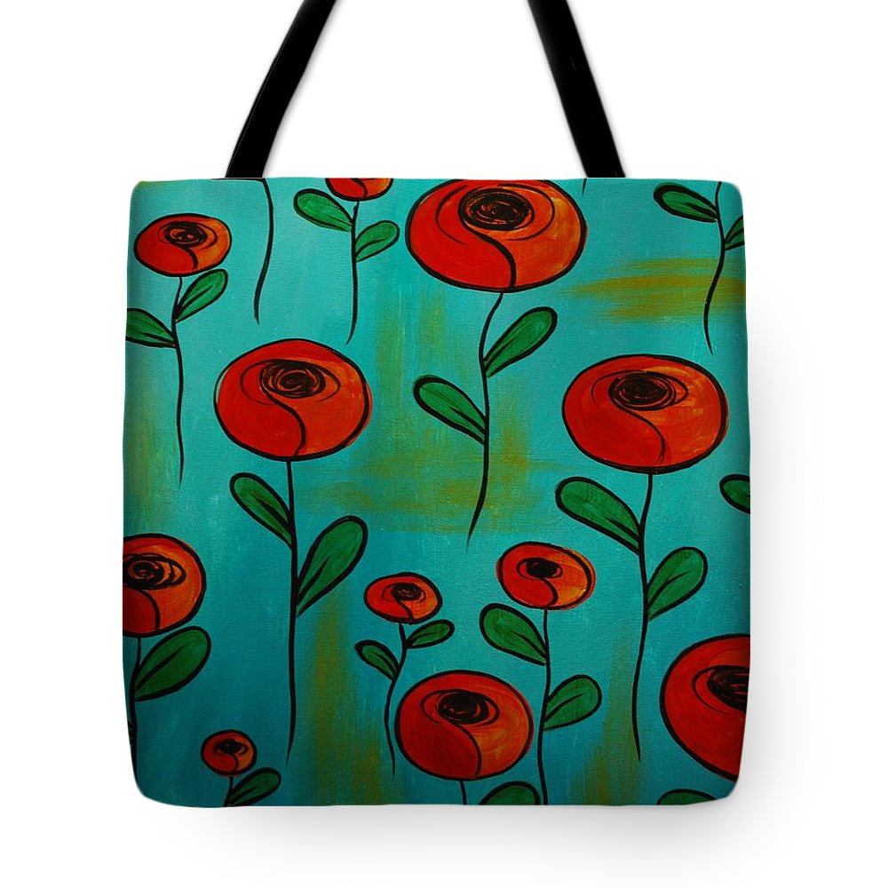 Poppy Tote Bag featuring the painting Orange Poppies by Emily Page