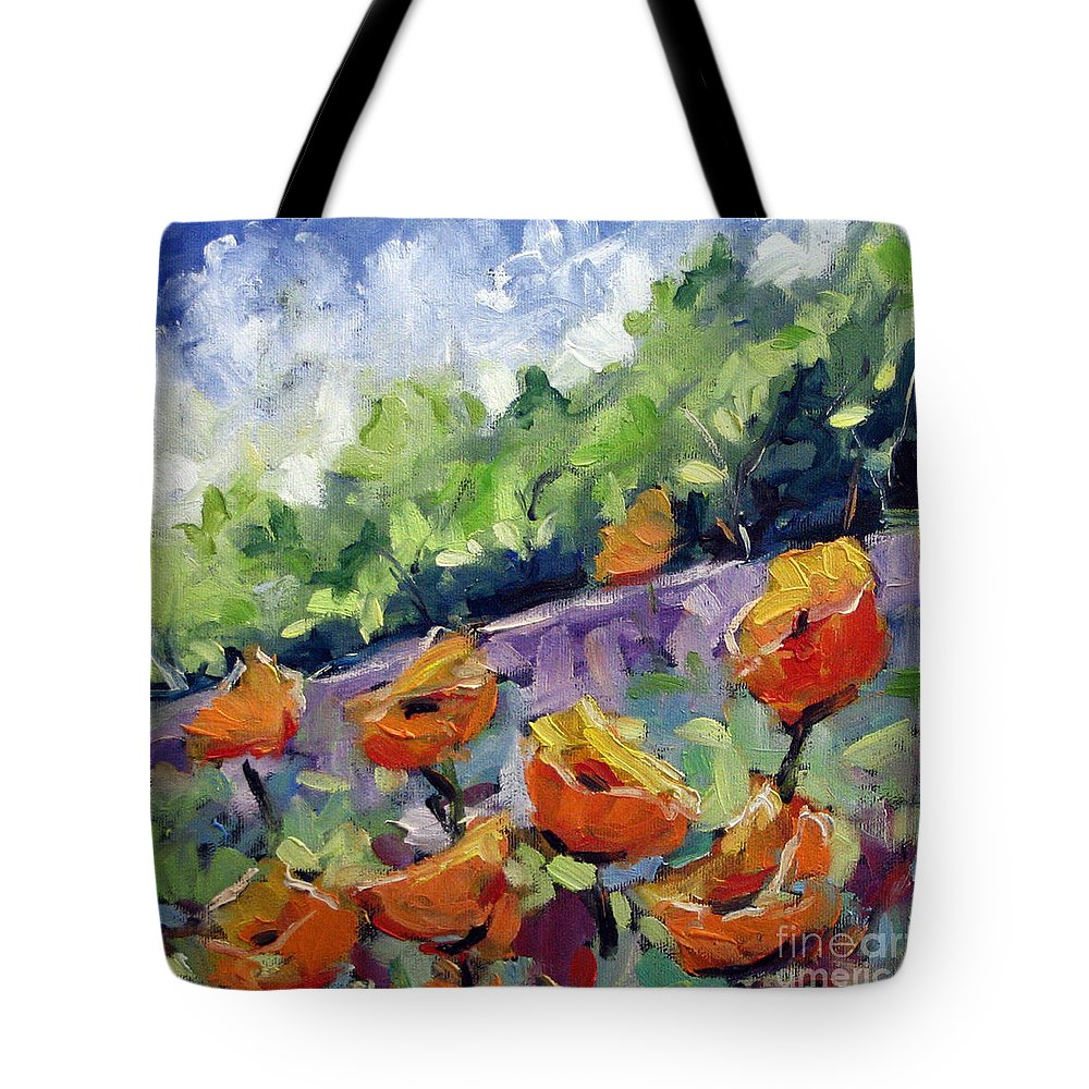 Art Tote Bag featuring the painting Orange Poppies by Richard T Pranke