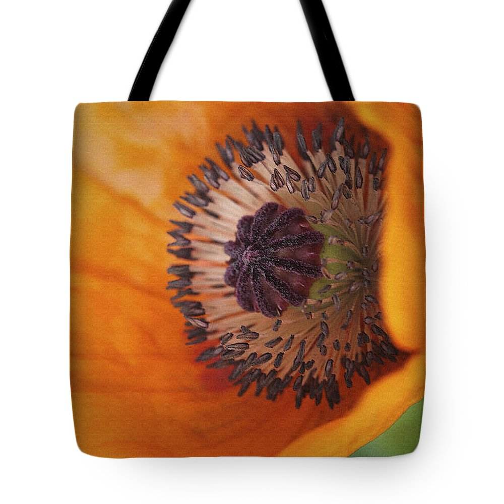 Flower Tote Bag featuring the photograph Orange Poppy With Texture by Deborah Benoit