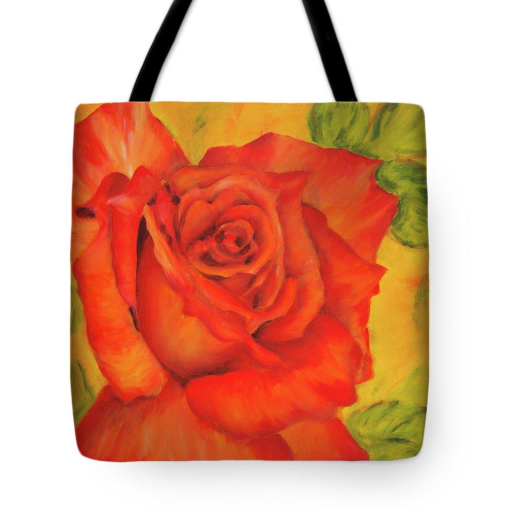 Rose Tote Bag featuring the painting Orange Rose Blossom by Karen Kaspar