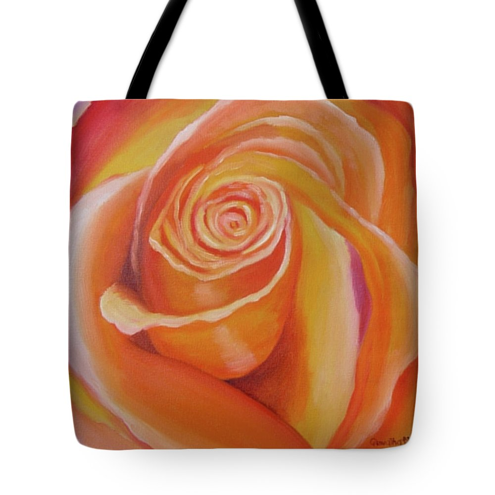 Orange Tote Bag featuring the painting Orange Rose by Quwatha Valentine