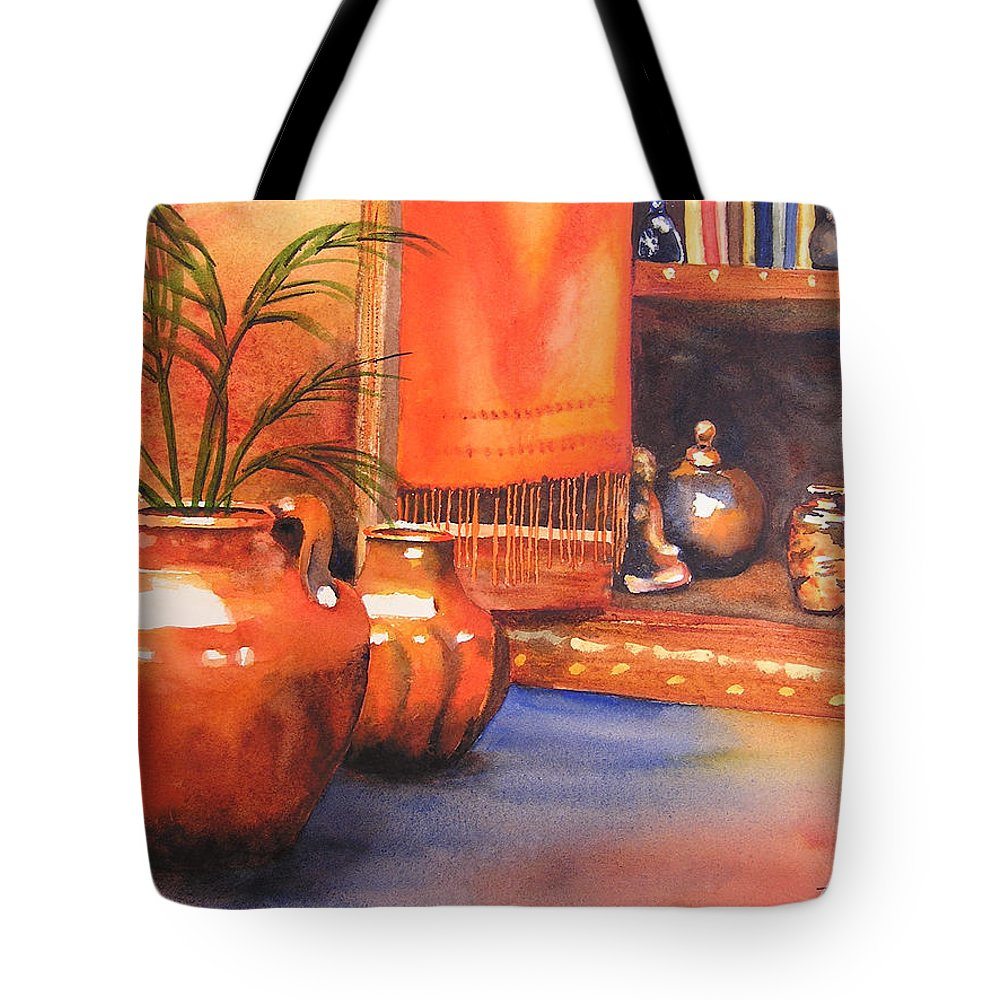 Pottery Tote Bag featuring the painting Orange Scarf by Karen Stark