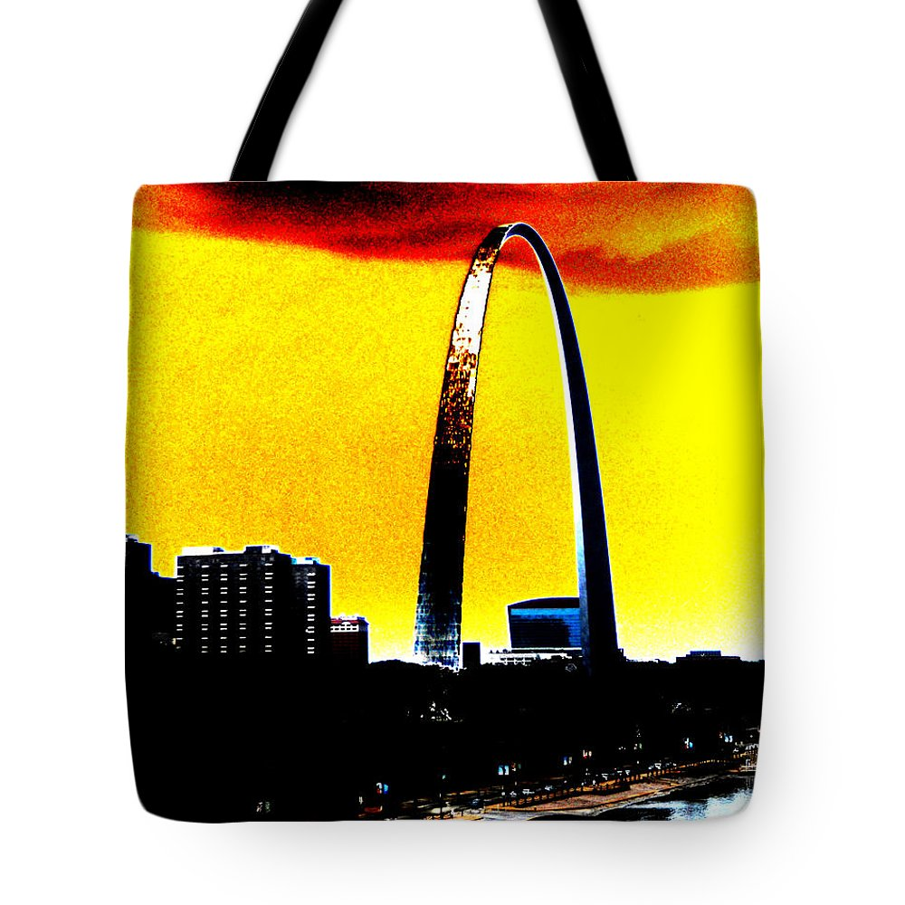 St Louis Tote Bag featuring the digital art Orange Skies And The Arch by Maggy Marsh