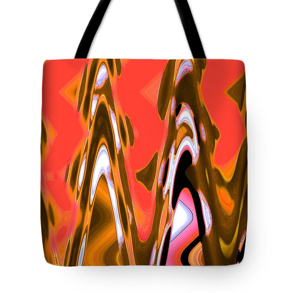 Abstract Tote Bag featuring the digital art Orange Skies by Lenore Senior