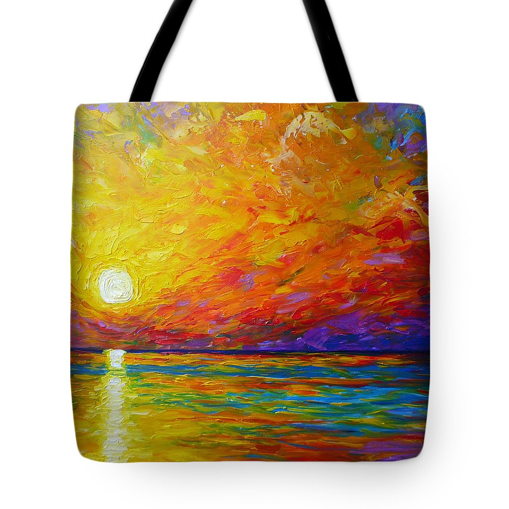Landscape Tote Bag featuring the painting Orange Sunset by Ericka Herazo