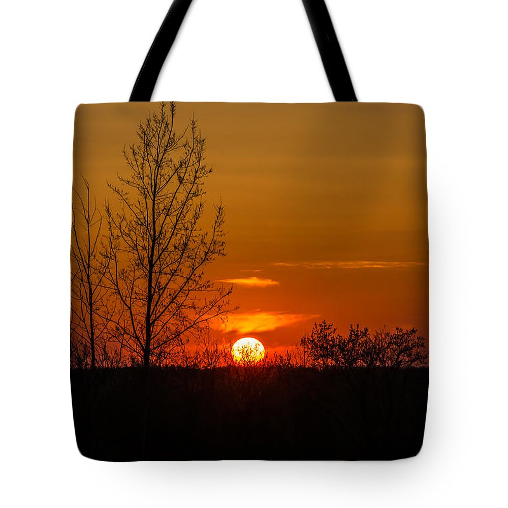 R3d Photography Tote Bag featuring the photograph Orange Sunset Through The Trees by Ray Sheley