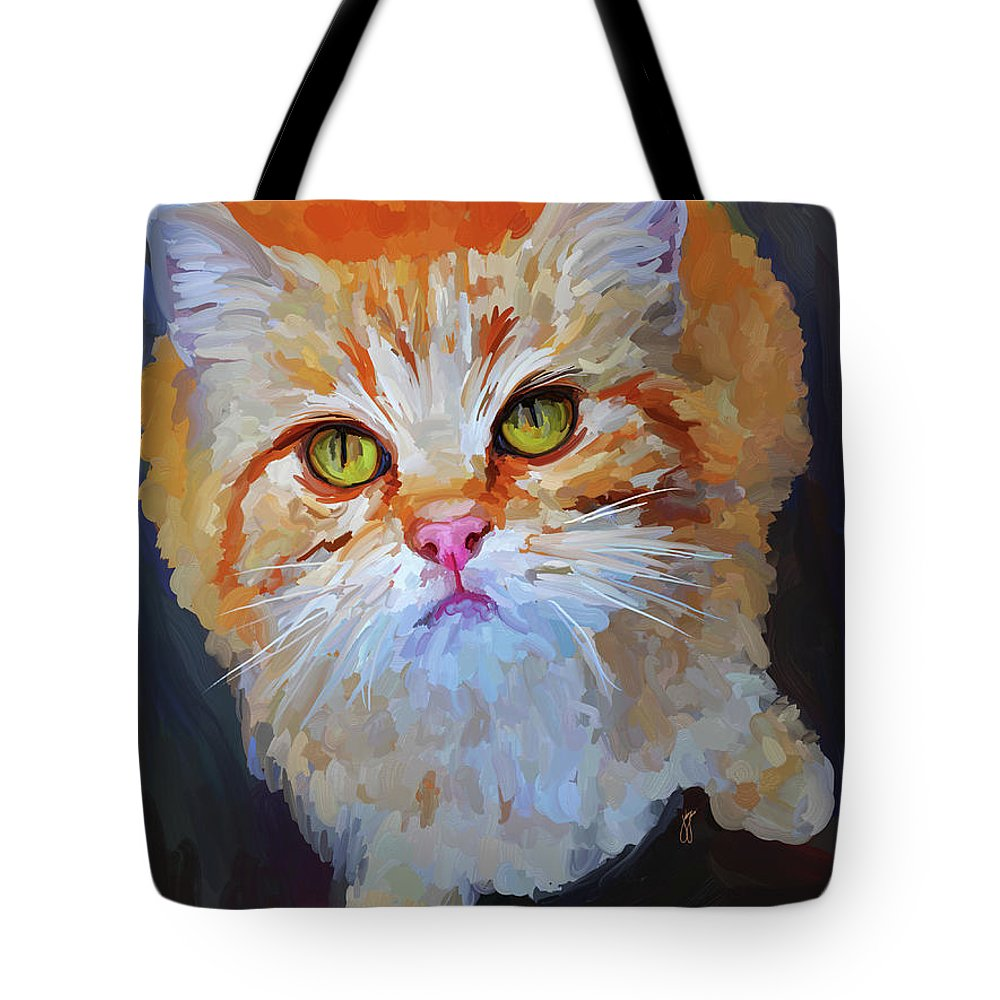 Orange Tote Bag featuring the painting Orange Tabby Cat by Jai Johnson