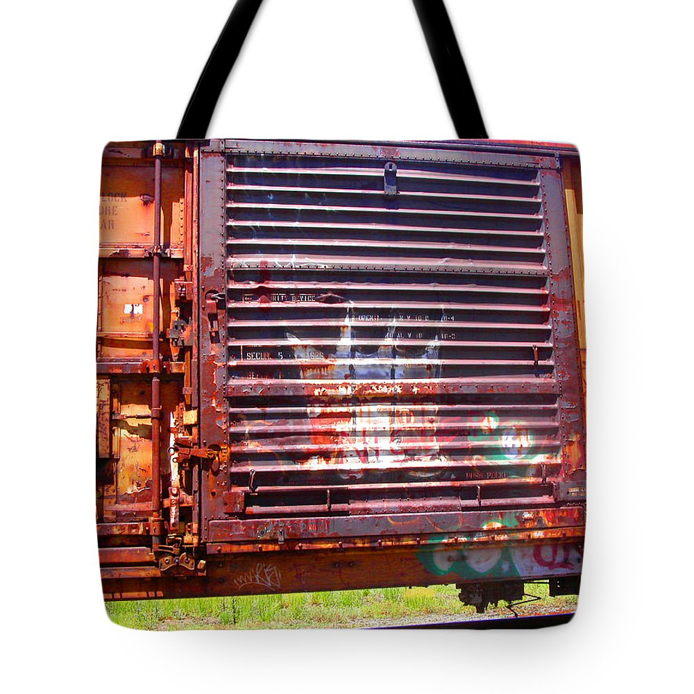 Train Tote Bag featuring the photograph Orange Train Car by Anne Cameron Cutri