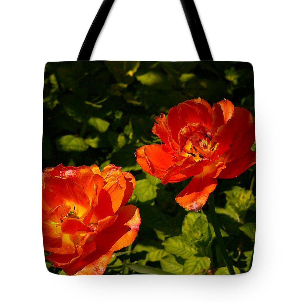 'orange Tulips' Tote Bag featuring the photograph Orange Tulips In My Garden by Helmut Rottler
