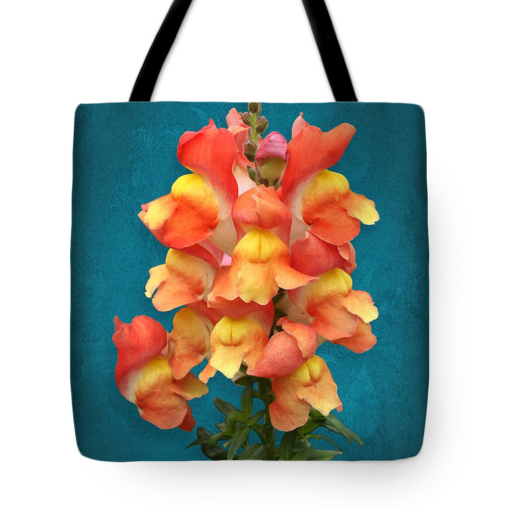 Snapdragon Tote Bag featuring the photograph Orange Yellow Snapdragon Flowers by Debi Dalio
