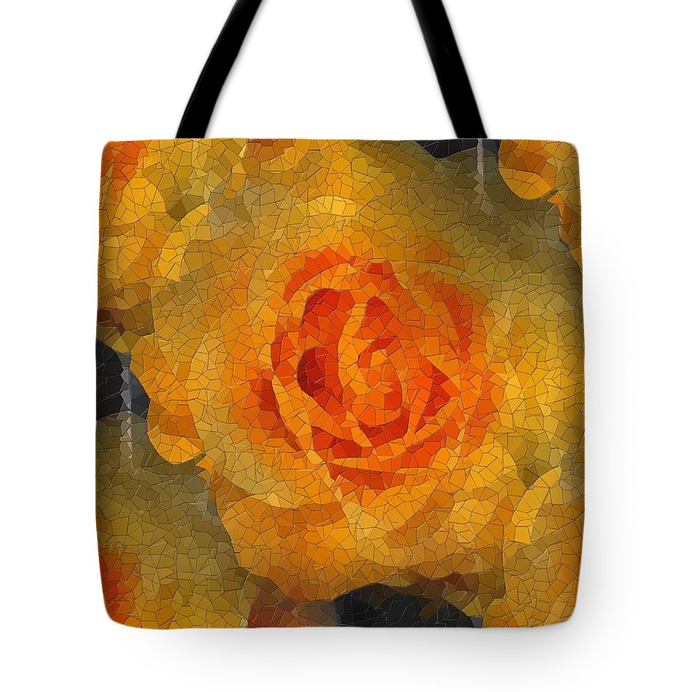 Flower Tote Bag featuring the digital art Orange You Lovely by Tim Allen