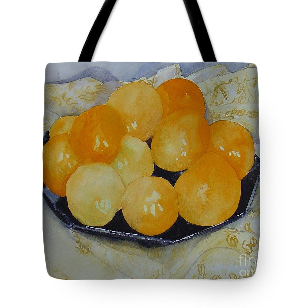 Still Life Watercolor Original Leilaatkinson Oranges Tote Bag featuring the painting Oranges by Leila Atkinson