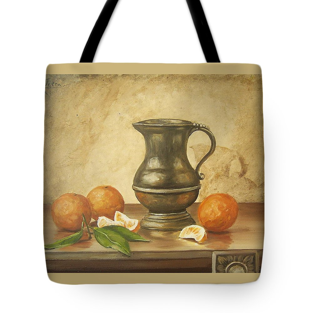 Still Life Tote Bag featuring the painting Oranges by Natalia Tejera