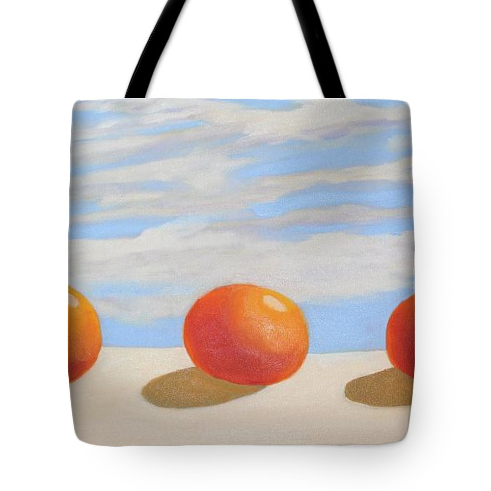 Oranges Tote Bag featuring the painting Oranges On A Ledge by Mary Erbert