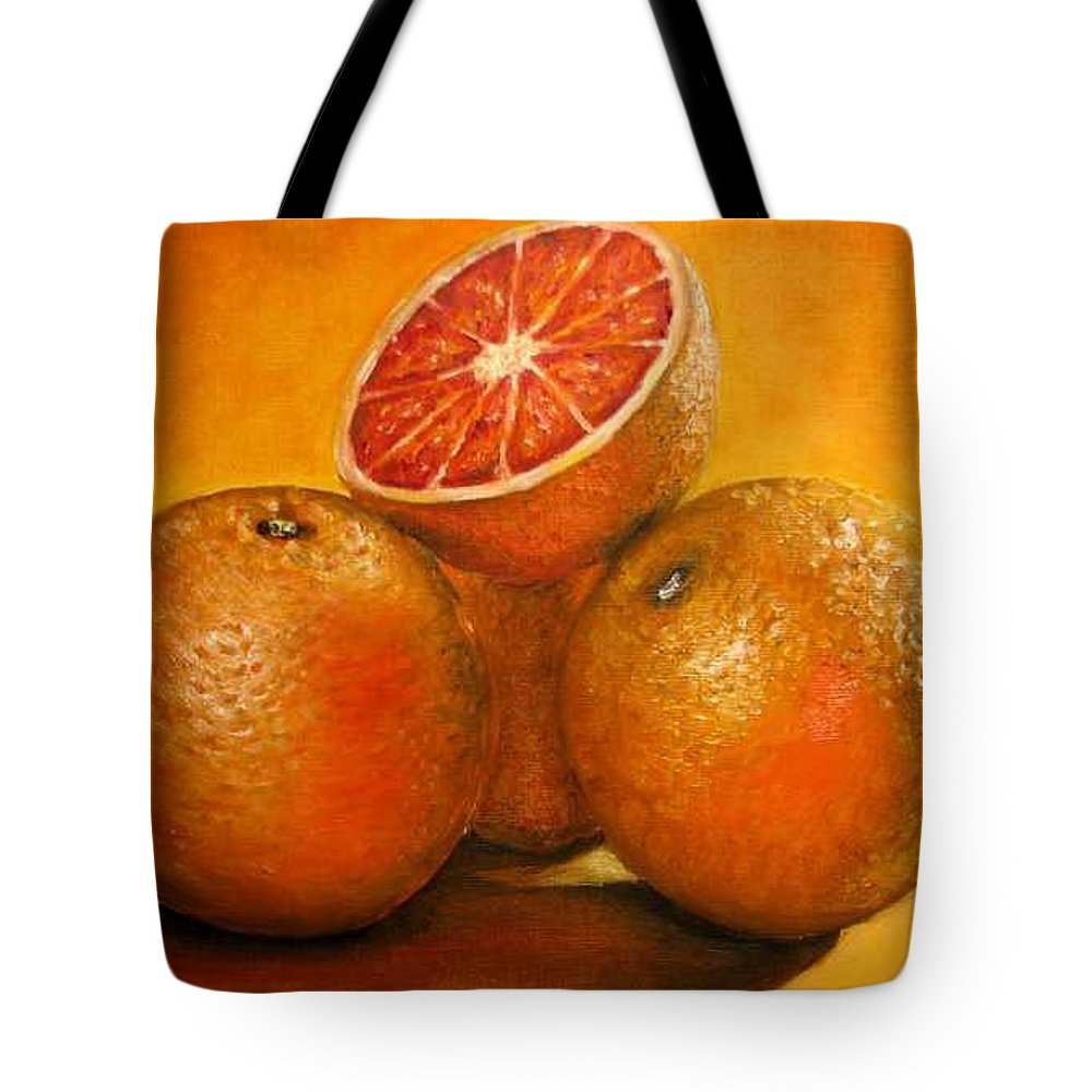 Oranges Tote Bag featuring the painting Oranges Original Oil Painting by Natalja Picugina