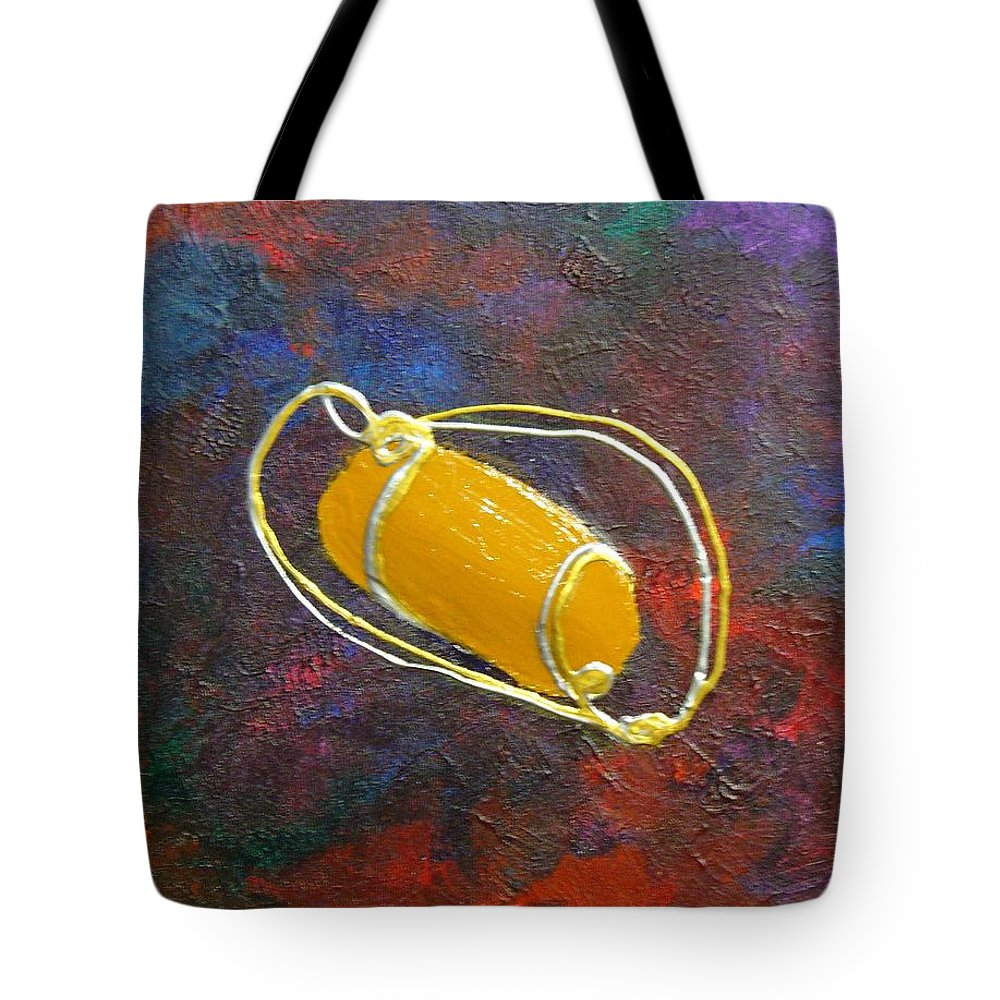 Abstract Tote Bag featuring the mixed media Orbit by Peggy King