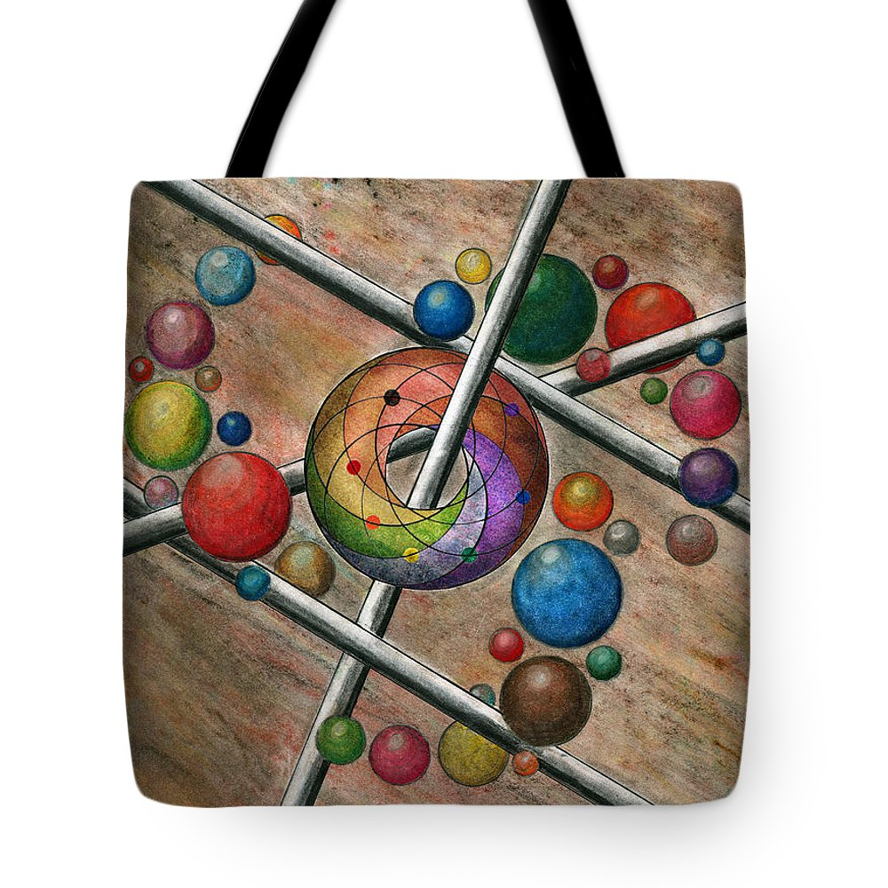 Orbital Ker Plunk Tote Bag featuring the drawing Orbital Ker Plunk by Peter Piatt