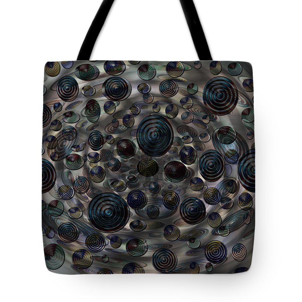 Planets Stars Solar System Orbs Freaky Abstract Colors Colourful Digital Art Weird Fading Tote Bag featuring the digital art Orbs by Andrea Lawrence