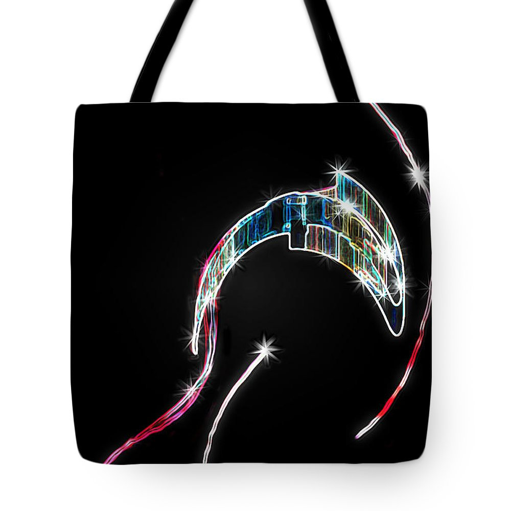 Orca Tote Bag featuring the digital art Orca Breaching by RC DeWinter