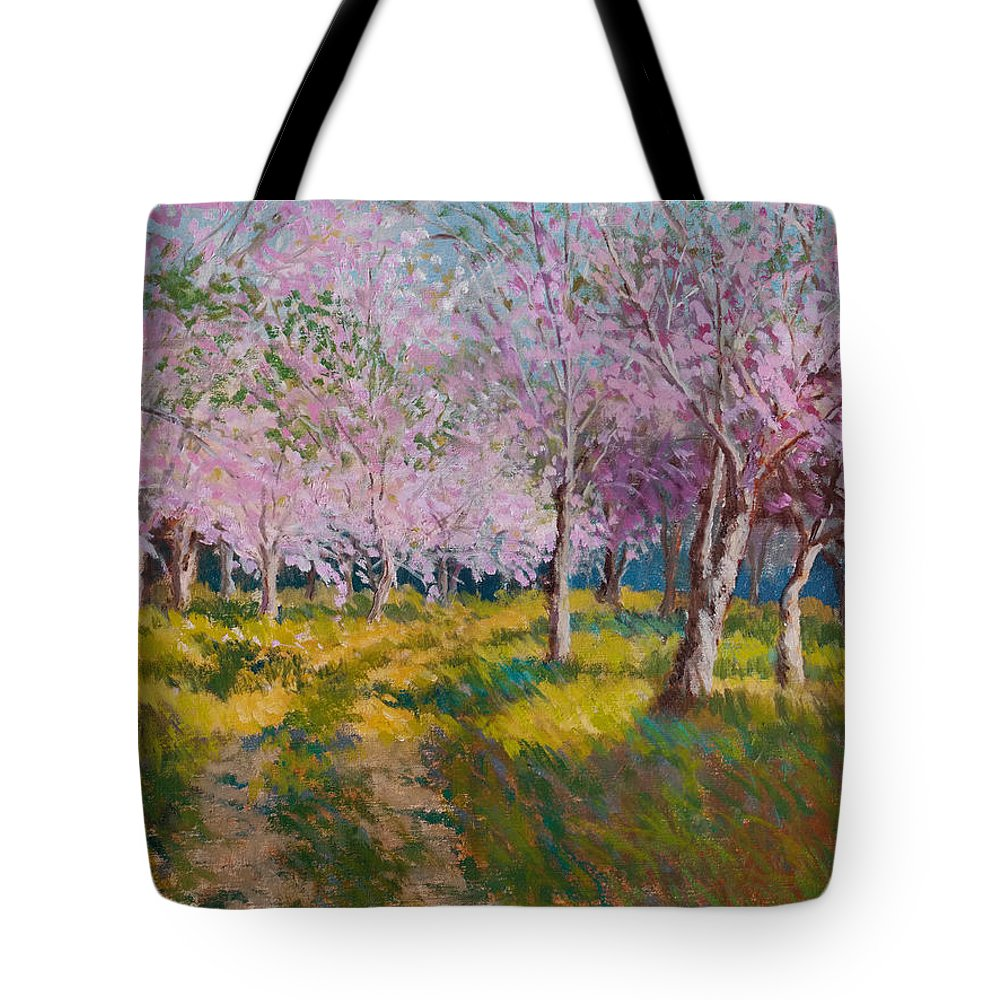 Impressionism Tote Bag featuring the painting Orchard Light by Keith Burgess