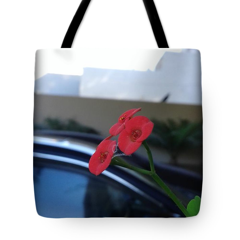 Red Orchard Blur Background Tote Bag featuring the photograph Orchard by Maha Ahmed