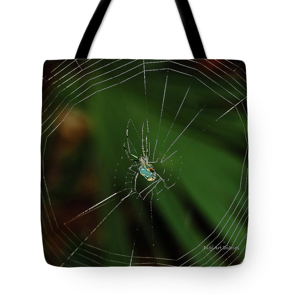 Spider Tote Bag featuring the photograph Orchard Orb by DigiArt Diaries by Vicky B Fuller
